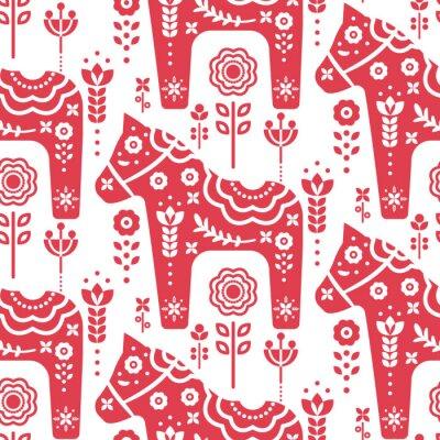 Tapeta Dala swedish horse seamless vector pattern.