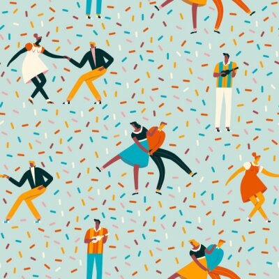 Tapeta Dancing couples in 50s retro style seamless pattern in vector.
