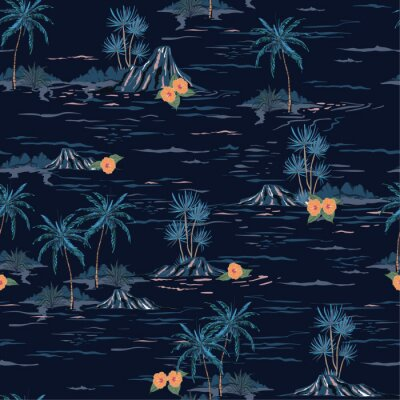 Tapeta Dark summer night mood seamless island pattern  Landscape with palm trees,beach and ocean vector hand drawn style