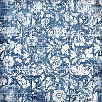 Tapeta dekoracyjne niebiesko-białe wzory w stylu retro