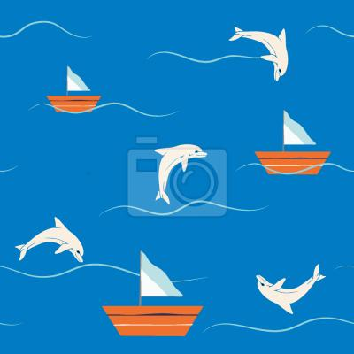 Tapeta Delfiny i żeglarstwo