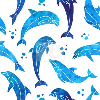Tapeta Delfiny W Wodnym KOLORZE