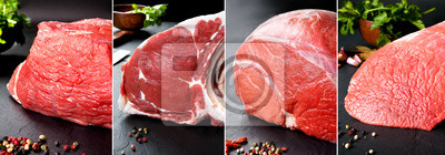Tapeta Delicious and tasty  food collage of raw meat and butchery products.Round veal and beef steak on a black background.