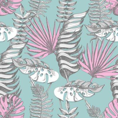 Tapeta Delikatny różowy i niebieski wzór z graficznych tropikalnych kwiatów.