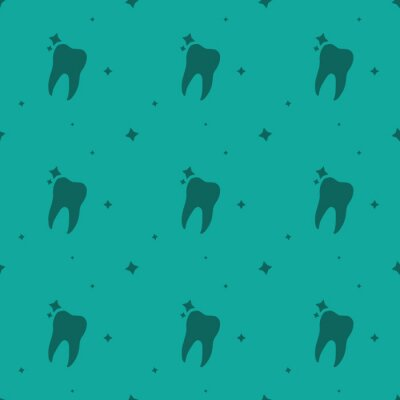 Tapeta Dentist Molar Tooth With Stars Seamless Silhouette Pattern
