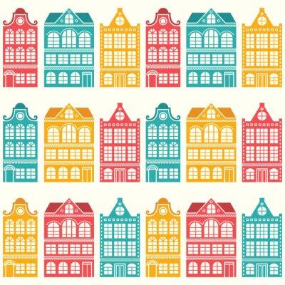 Tapeta Deseń bezszwowych domów - holenderski, Amsterdam domy, w połowie wieku nowoczesny styl