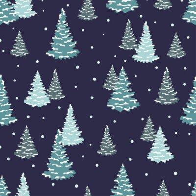 Tapeta Deseń drzew jodłowych. Wektor bez szwu lasów zimowych tle.