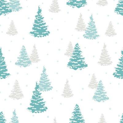 Tapeta Deseń drzewa bez szwu. Wektor lasów zimowych tle.