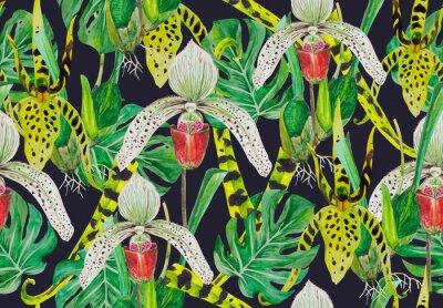 Tapeta Deseń liści potwory i storczyki. Tło - czarne