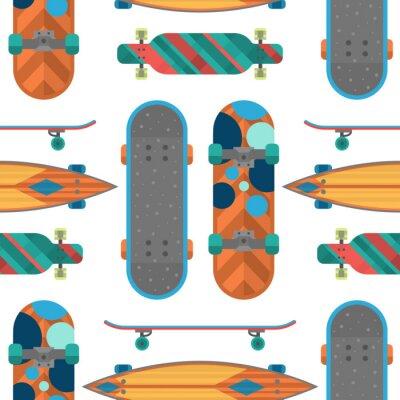 Tapeta Deskorolka elementów podstrunnica bezszwowe tło wektor sprzęt sportowy jazda na łyżwach transportu prędkość dekoracyjna styl wolny czas wolny.