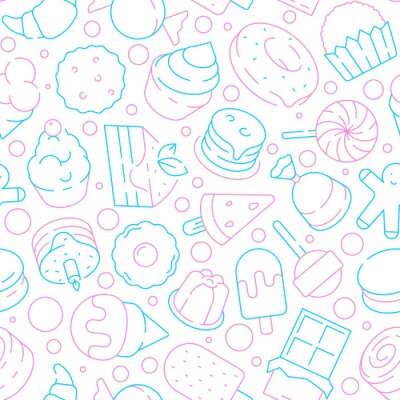Tapeta Desserts pattern. Kids delicious food sweet cakes biscuits jelly ice cream lollipop cupcakes vector seamless background. Illustration of dessert food cake and lollipop, sweet candy and cupcake