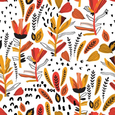 Tapeta Detailed foliage seamless pattern with decorated flowers, petals, leaf, doodle elements