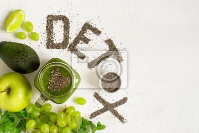 Tapeta Detox wykonany jest z nasion z Chia. Zielone koktajle i składnik