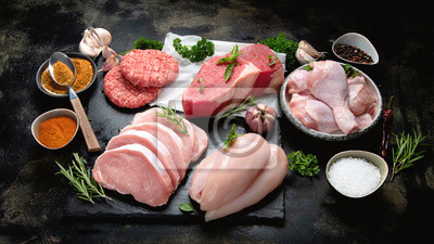 Tapeta Different types of raw meat