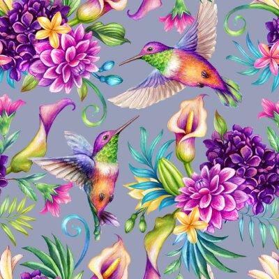 Tapeta digital watercolor botanical illustration, seamless floral pattern, humming birds, wild tropical flowers, violet background. Paradise nature, garden. Palm leaf, calla lily, plumeria, hydrangea, gerber
