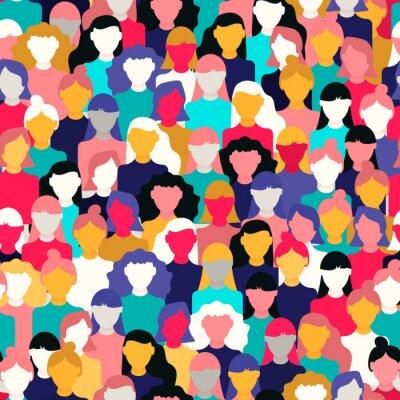 Tapeta Diverse woman crowd pattern for women's day