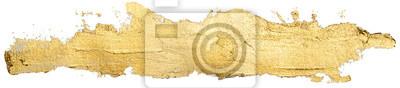Tapeta długie złote rozmaz plamy farby olejnej miejscu na białym tle