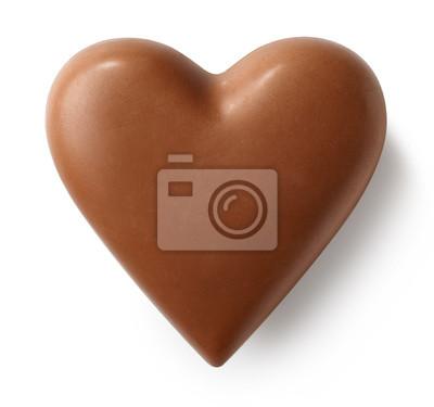 Dojnej czekolady serce na białym tle