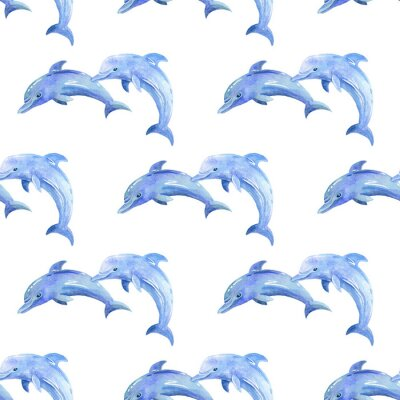 Tapeta Dolphin watercolor hand painted seamless pattern. Sea background.