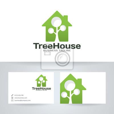 Tapeta Drzewo Z Logo Wektor Szablonu Wizytówki Nowoczesny