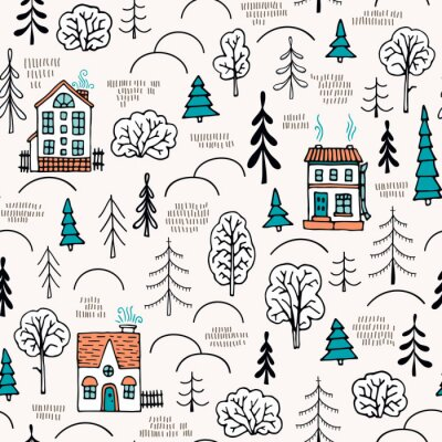 Tapeta domy w lesie