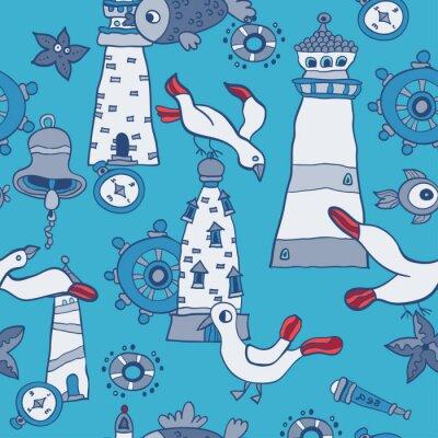 Tapeta Doodle dzieci zwierz? T morskich bez szwu wektora deseniu