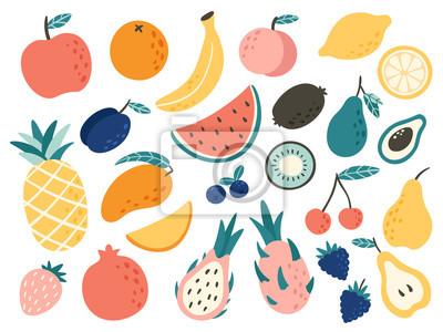 Tapeta Doodle fruits. Natural tropical fruit, doodles citrus orange and vitamin lemon. Vegan kitchen apple hand drawn vector illustration
