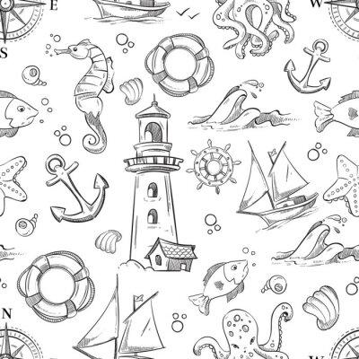 Tapeta Doodle wektorowej wektora swobodnego wzór ze zwierzętami morskimi, żaglowe i kotwicy