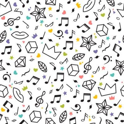 Tapeta Doodle wzór z nut, serca, gwiazdy i inne elementy geometryczne. Motyw muzyczny. Nowoczesne ręcznie rysowane tła