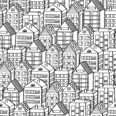 Tapeta Doodles houses seamless pattern. City pattern in black and white hand drawn houses.