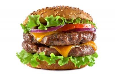 Tapeta double cheeseburger on a white background
