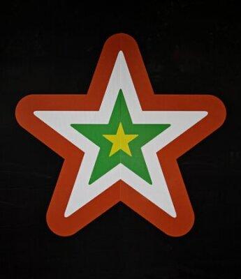 Drawn gwiazda kolory na czarno ściany, dekoracja