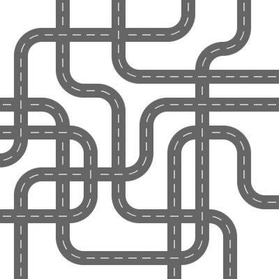 Tapeta Drogi asfaltowe Szare betonowe podejmowania Ulice Spaghetti