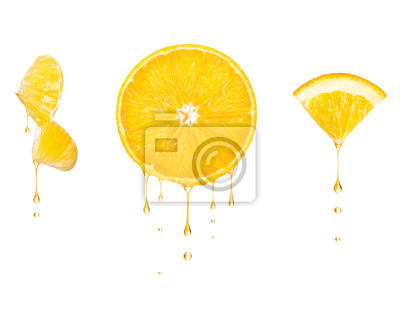 Tapeta Drops of juice drip from cut pieces of orange, isolated on white background
