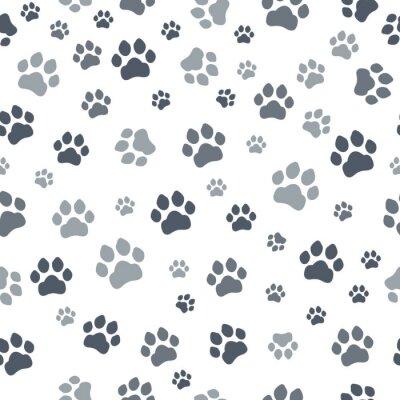 Tapeta Druk bez szwu. Ślady wzoru tkanin dla kotów. Kot bez szwu wzór. Wektor bez szwu