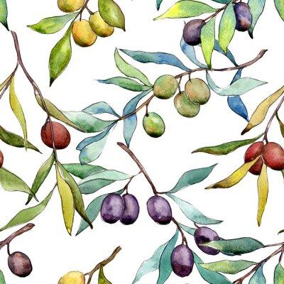 Tapeta Drzewo oliwne wzór w stylu przypominającym akwarele. Pełna nazwa zakładu: Gałęzie drzewa oliwnego. Aquarelle drzewo oliwne na tle, tekstury, wzór opakowania, ramki lub granicy.