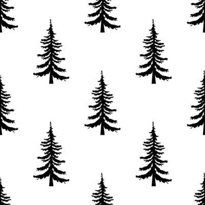 Tapeta Drzewo sosnowe wzór bez szwu na białym tle. Proste ilustracja sosny wektora deseniu dla sieci web