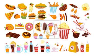 Tapeta Duży wektor fast food i zestaw przekąsek na białym tle: hamburger, deser, pizza, kawa, kurczak, wok, wołowina itp. Ręcznie rysowane styl szkic, rysunek na tablicy. Dobre dla menu, projekt specjalnej o