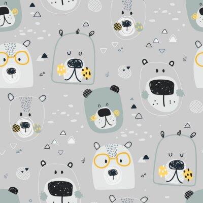 Tapeta Dziecinna śliczna wektorowa ilustracja bezszwowy wzór ręka rysunek znosi twarze z widowiskami, na szarym tle. Tkaniny, tkaniny, papier, tapety, opakowania lub pocztówki dla przedszkola i dziecka.