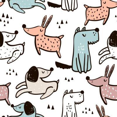 Tapeta Dziecinna wzór z ręcznie rysowane psy. Modny skandynawski tło wektor. Idealny do odzieży dziecięcej, tkanin, tkanin, dekoracji przedszkolnych, papieru do pakowania