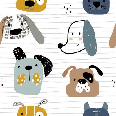 Tapeta Dziecinna wzór z ręcznie rysowane psy. Modny skandynawski wektorowy tło. Idealny do odzieży dziecięcej, tkanin, tekstyliów, dekoracji dziecięcych, papieru do pakowania