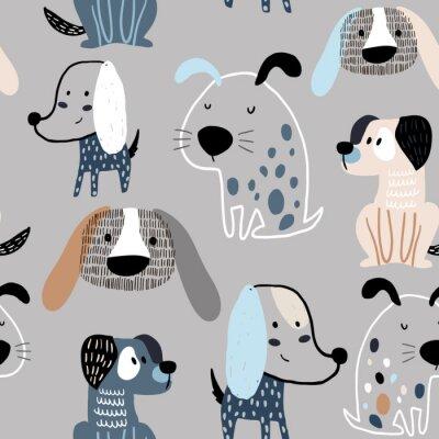Tapeta Dziecinna wzór zabawny kreatywnych psów. Modny skandynawski wektorowy tło. Idealny do odzieży dziecięcej, tkanin, tekstyliów, dekoracji dziecięcych, papieru do pakowania
