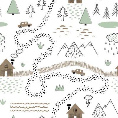Tapeta Dziecinny wzór z domu, drzew, gór i samochodów. Tekstura krajobraz przyrody dla dzieci tkaniny, opakowania, tekstylia, tapety, odzież. Graficzna ilustracja w stylu skandynawskim.