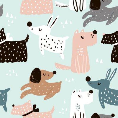 Tapeta Dziecinny wzór z ręcznie rysowane psy. Modny skandynawski tło wektor. Idealny do odzieży dziecięcej, tkanin, tekstyliów, dekoracji dziecinnych, papieru do pakowania