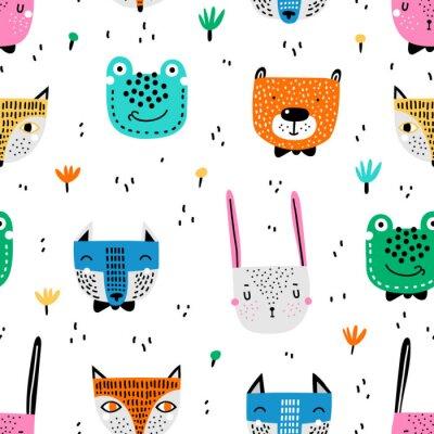 Tapeta Dziecinny wzór z ręcznie rysowane zwierząt. Modny skandynawski tło wektor. Tekstura wektor w dziecinnym stylu doskonale nadaje się do tkanin i tekstyliów, tapet, tła.