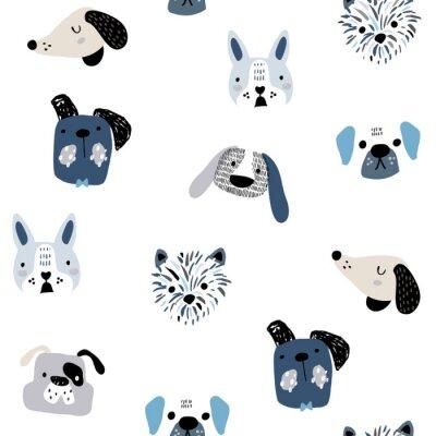 Tapeta Dziecinny wzór z zabawnymi kreatywnymi twarzami psa. Modny skandynawski wektorowy tło. Idealny do odzieży dziecięcej, tkanin, tekstyliów, dekoracji dziecięcych, papieru do pakowania