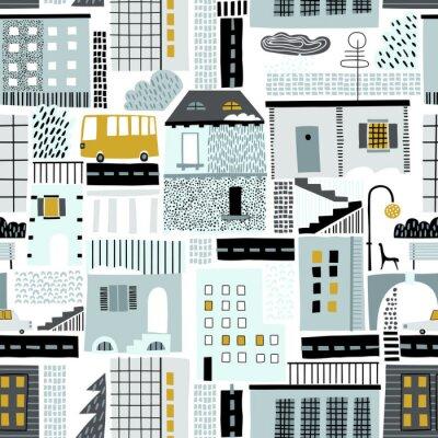 Tapeta Dziecinny wzór ze starych i nowoczesnych budynków, dróg, transportu, abstrakcyjnych kształtów i tekstur. Dobre dla dzieci, tkanin, tapet dziecięcych. Bezproblemowy krajobraz miasta. Zimowy.