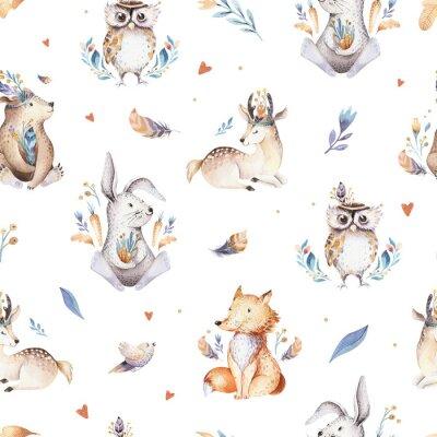 Tapeta Dziecko zwierzęta przedszkola na białym tle wzór z bannies. Akwarela boho słodkie dziecko lisa, jelenie zwierząt leśnych królik i niedźwiedź na białym tle ilustracja dla dzieci. Obraz lasu Bunny