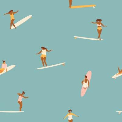 Tapeta Dziewczyna surfingowowie w bikini bezszwowym wzorze w wektorze.