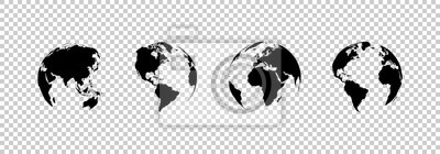 Tapeta earth globe collection. set of black earth globes, isolated on transparent background. four world map icons in flat design. earth globe in modern simple style. world maps for web design. vector